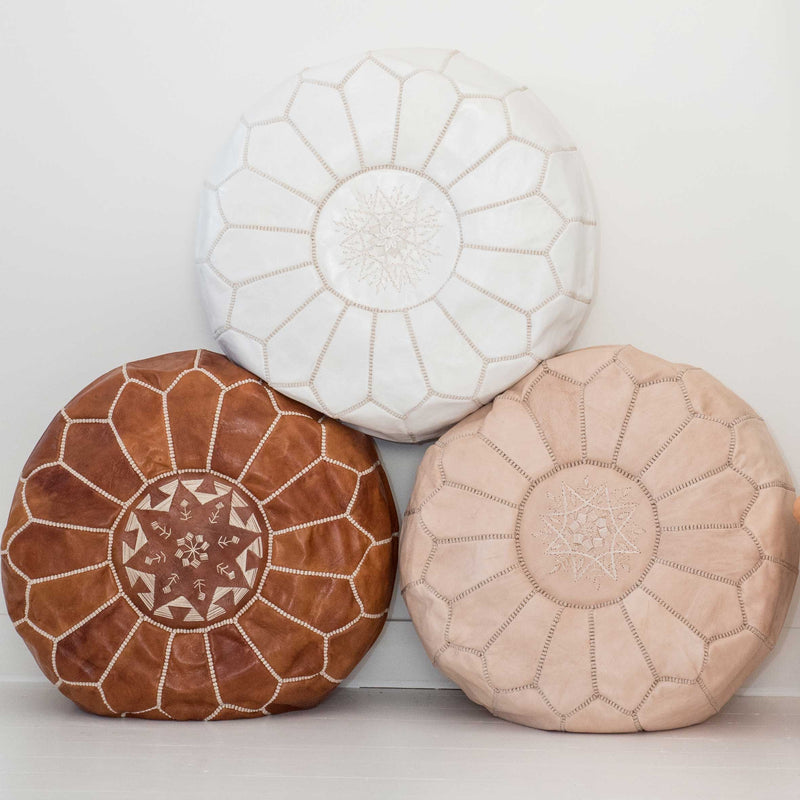 Dark Tan Leather Pouffe - Beni Kesh