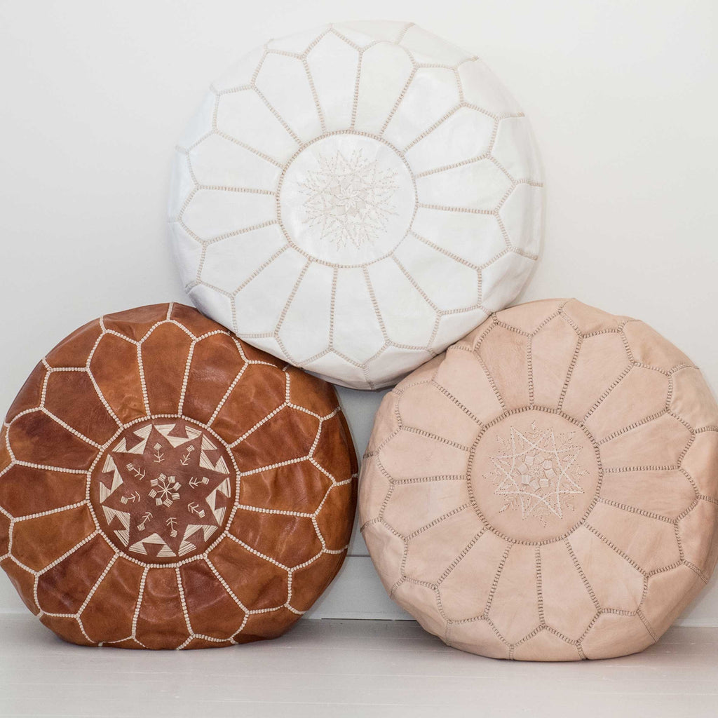 Natural Leather Pouffe - Beni Kesh