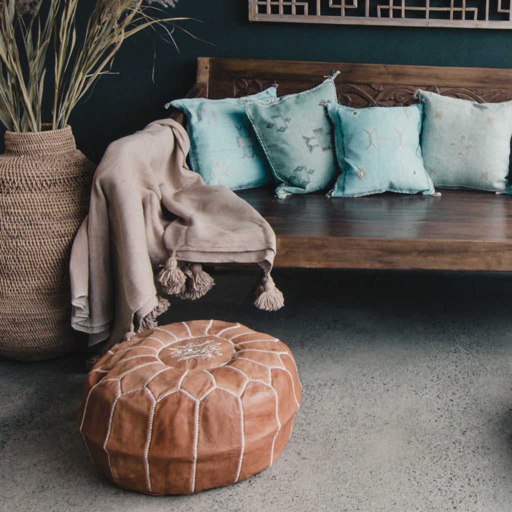 Vintage Tan Leather Pouffe - Beni Kesh