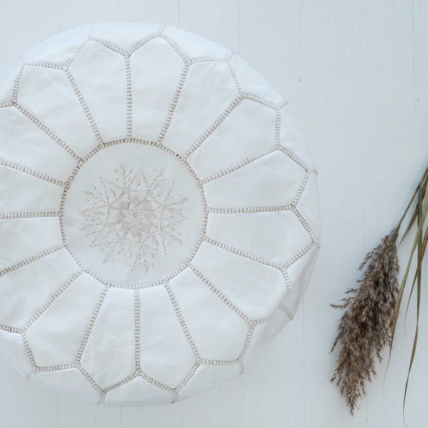 White Leather Pouffe - Beni Kesh