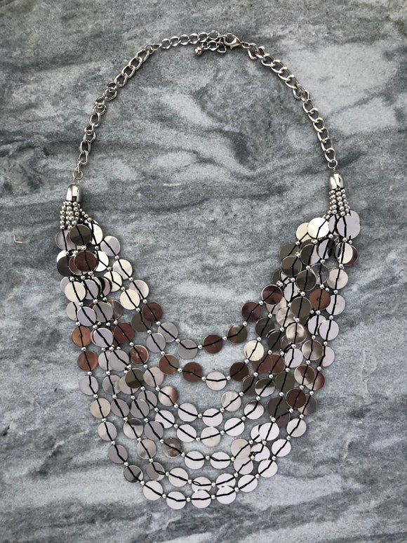 Silver Coins Necklace