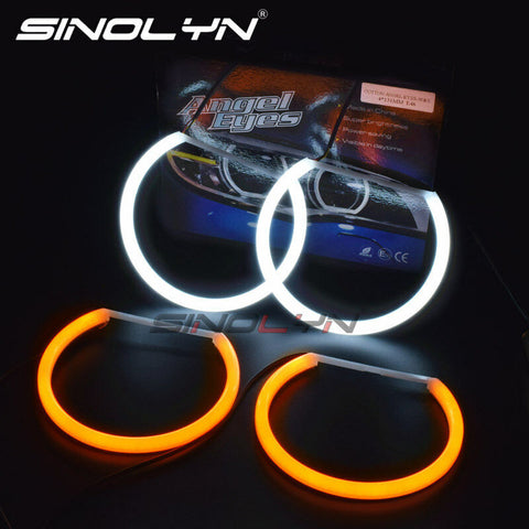 For BMW E46/E39/E38/E36 Headlight LED Angel Eyes Switchback Halo Rings Kit