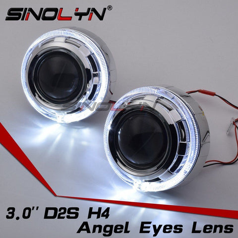 3.0'' D2S Projector Headlight HID Bi xenon Lens LED Angel Eyes DRL