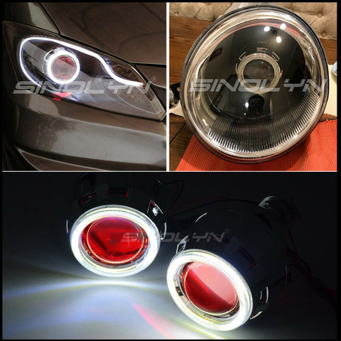 2.5'' LED Angel Demon Eyes Halo Bixenon Lens Projector Car Motorcycle Headlight