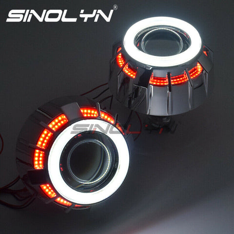 H1 H4 H7 HID Bi-xenon Projector Lens Kit Double COB LED Angel Eyes