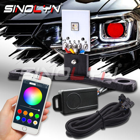 RGB Devil Demon Eyes Bluetooth Smartphone APPMulti-Color Headlight Lens