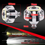 Dual Square COB LED Halos Angel Eyes Bi-xenon Projector Lens