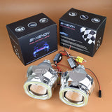 Square Angel Eyes DRL Metal HID Bixenon Lens Projector Headlight