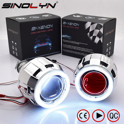 2.5 COB LED Angel Eyes Halo Bi xenon Lens Projector Headlight Car Retrofit