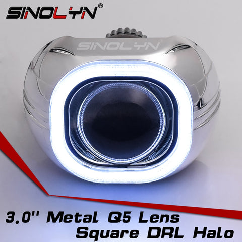 3.0'' H4 Q5 D2S Bi xenon Lens HID Projector Headlight Kit Square LED Angel Eyes Halo