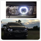 Square LED Angel Eyes Halo DRL Bi-xenon Lens Car Projector Headlight