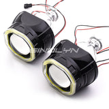 2.5'' Upgrade Mini 8.0 H1 Bi-xenon Projector Lens W/ COB LED Angel Eyes Black
