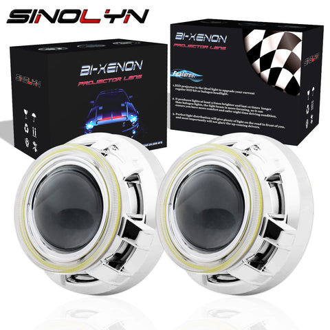 3.0'' HID Bi xenon Lens Headlight Projector W/ COB Angel Eyes DRL