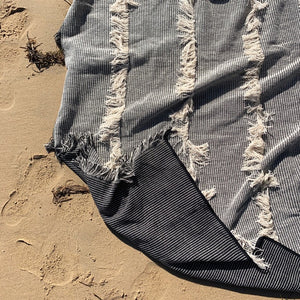 Clareville Throw - Fringed Grey Contrast