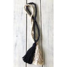 Wooden Bead & Tassel Wall Necklace