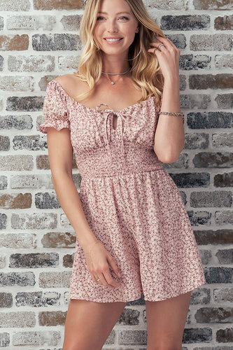 The Emily Floral Romper in Mauve