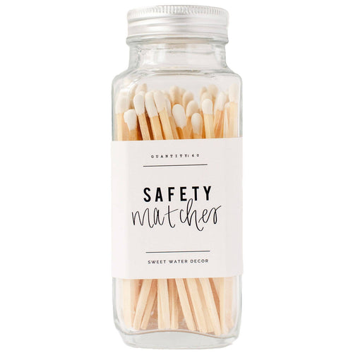 White Safety Matches - Glass Jar