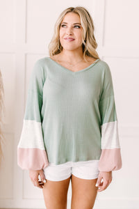 Colorblock Balloon Sleeve Top