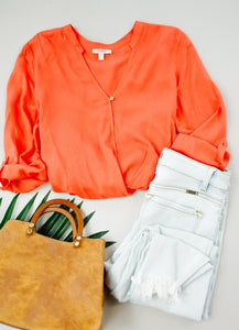 Coral Surplice Blouse