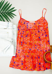 Ditzy Floral Tank In Coral