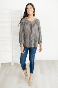 Feelin' The Breeze Blouse in Charcoal