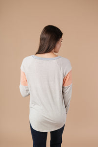Home Base Contrast Long Sleeve Top In Heather Gray