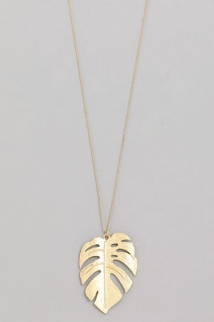 Metal Monstera Leaf Pendant Necklace