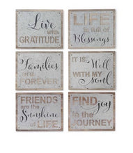 Barnwood Tabletop Signs with Tin Overlay