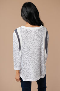 Racing Stripes Animal Print Top In Gray