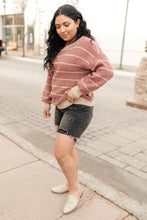 Ribbed and Striped Sweater in Mauve