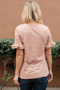 Rosy Ruffled Sleeve Top