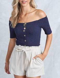 Marisol Off The Shoulder Top - Navy
