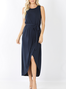 Adeline Sleeveless Tulip Dress - Navy