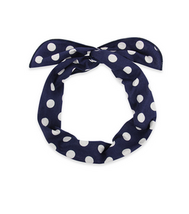 Jessie Polka Dot Wrap Headband in Navy