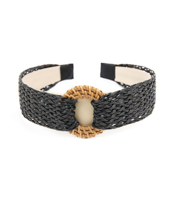 Down By The Shore Straw Headband in Black