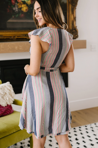 Striped Delight Ruffled Wrapped Dress