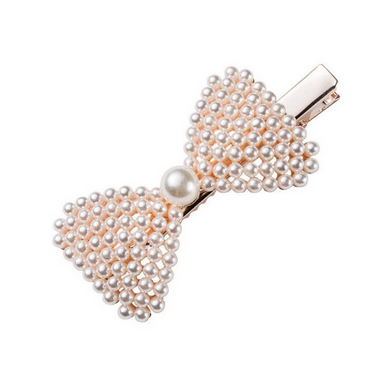 Pearls and Bows Hair Clip