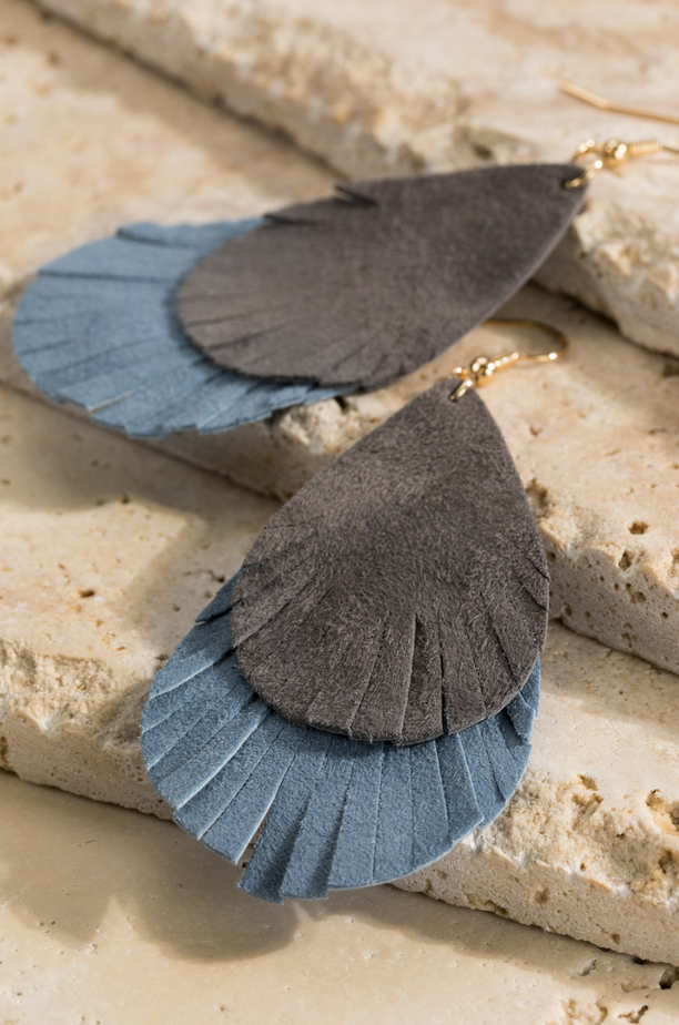 The Ivy Layered Leather Earrings in Blue Grey