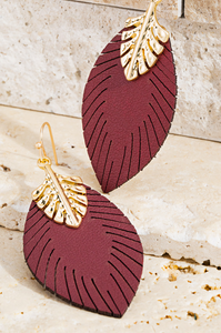 Evelyn Faux Leather Earrings in Burgundy