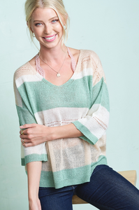 Blissful Eyelet Sweater in Mint