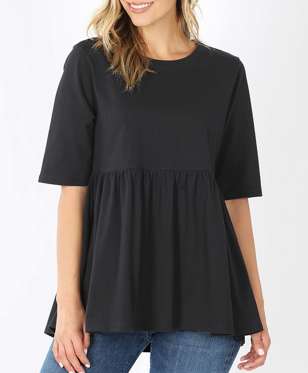 Emma Oversized Babydoll Top in Black