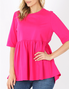 Emma Oversized Babydoll Top in Hot Pink