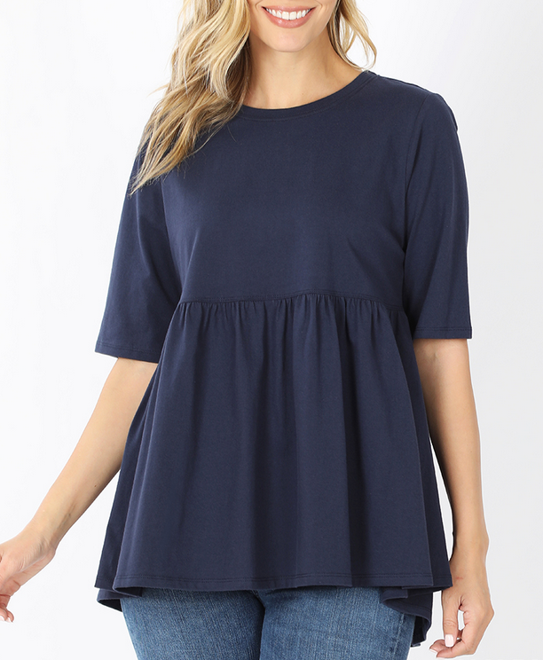Emma Oversized Babydoll Top in Navy
