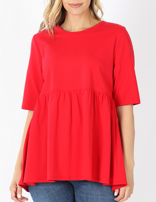 Emma Oversized Babydoll Top in Red