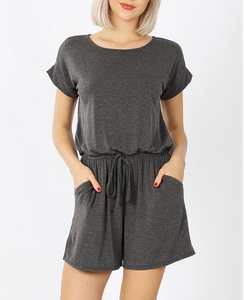 Everything I Wanted Romper in Dark Gray
