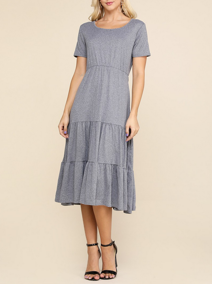 Endless Love Tiered Dress in Heather Grey