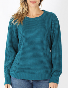Madison Waffle Knit Sweater in Teal
