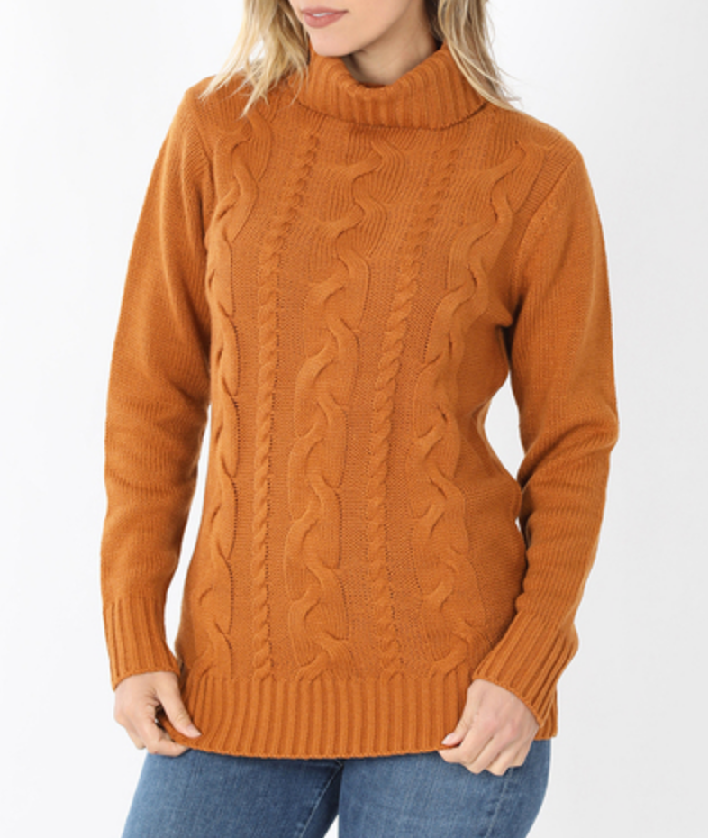 Warm and Cozy Cable Knit Sweater in Almond