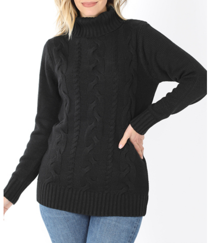 Warm and Cozy Cable Knit Sweater in Black