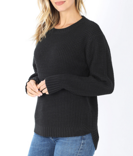 Madison Waffle Knit Sweater in Black